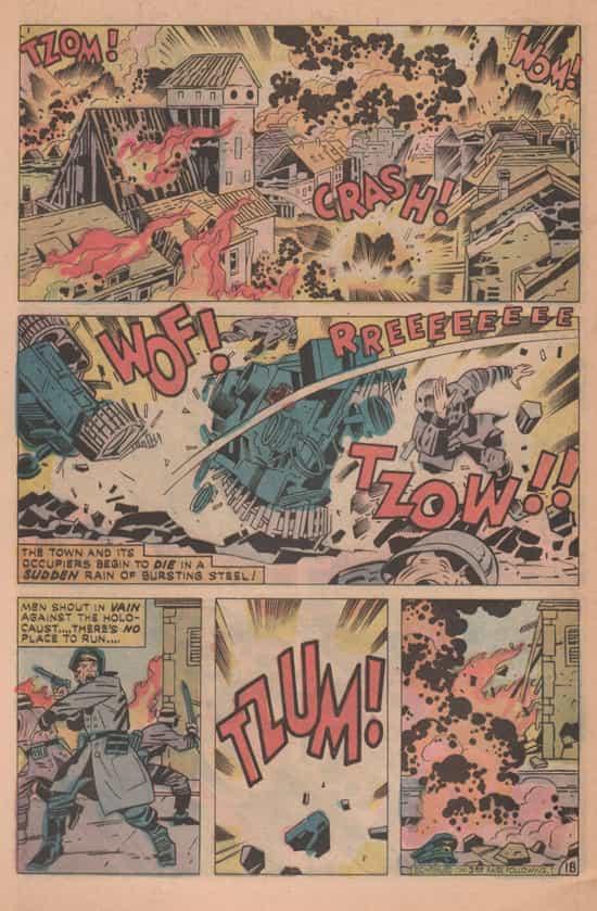 Un village attaqué par des tirs de char (Our Fighting Forces  151). Ici Jack inverse les rôles : c'est un Nazi qui est pulvérisé par le tir d'un char américain...