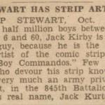Article du journal local du 1er octobre 1943 : le dessinateur de « Boy Commandos » à Camp Stewart.