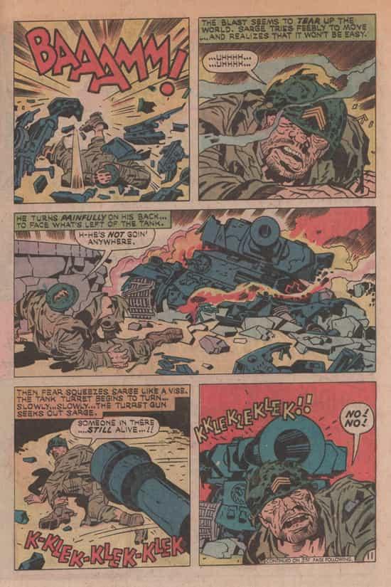 Kirby ou son alter ego, Sarge Clay des Losers, aux prises avec un tank (dans Our Fightning Forces 155)