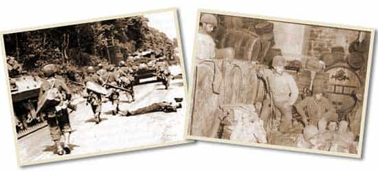 Des GIs descendent sur Dornot et investissent une cave, le 7 septembre au soir. Peut-être Jack (à gauche, sur la barrique)…