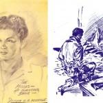 Portrait de Roz dessiné dans un trou de combat (10/44) + « Kneeling Soldier » (réalisé à l'intérieur d'un bunker allemand).
