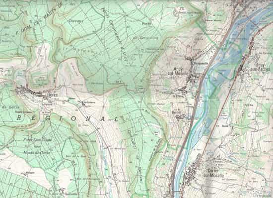 Une carte du Sud de Metz, théâtre des combats auxquels a participé Jack Kirby...