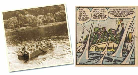Les hommes sur les barques, traversant la Moselle + une réminiscence de cet épisode dans Sgt. Fury n°3 (septembre 1963).
