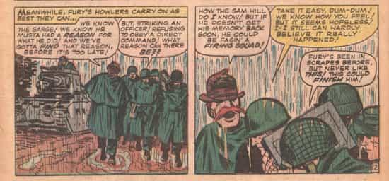 Comme dans Sgt. Fury 7, la pluie est au rendez-vous...