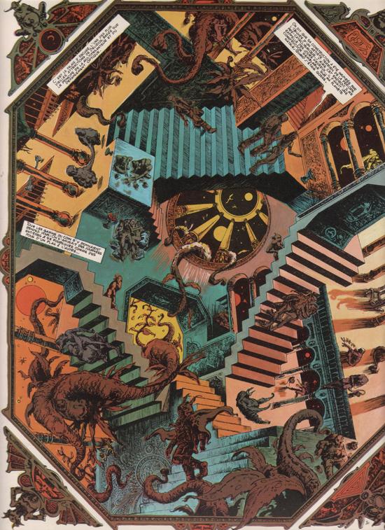 """Une figure folle d'Escher et son pendant chez Druillet dans """"Délirius""""."""
