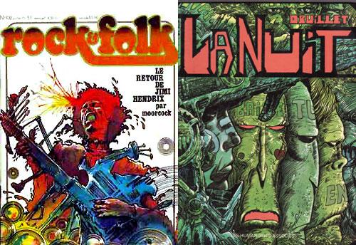 Une belle couverture de Rock & Folk par Duillet (n°102) + la couverture de l'album.