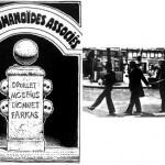Le fameux poteau des Humanos + L'équipe (Gir, Farkas, Druillet et Dionnet) dans une pose rappelant Abbey Road...