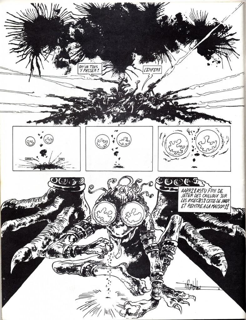 Dans la revue Comics 130, éditée par Futuropolis (alors deuxième boutique spécialisée BD à Paris), se trouve réunie l'équipe quasi complète des futurs humanos : Dionnet, Druillet et Moebius. Y paraissent les trois pages de « Aaarrrzzz » (n°2, 1970) et une jolie couverture (n°6, 1972) par Druillet.