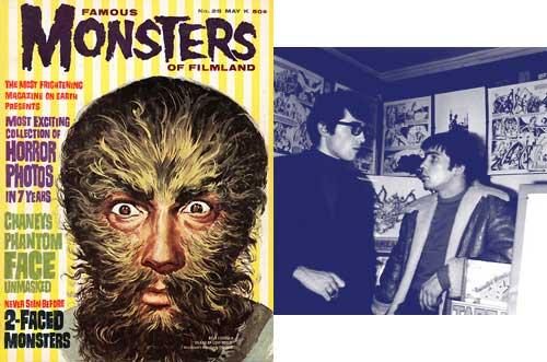 Un numéro de Famous Monsters de 1964 + Philippe Druillet (à gauche) au Kiosque.