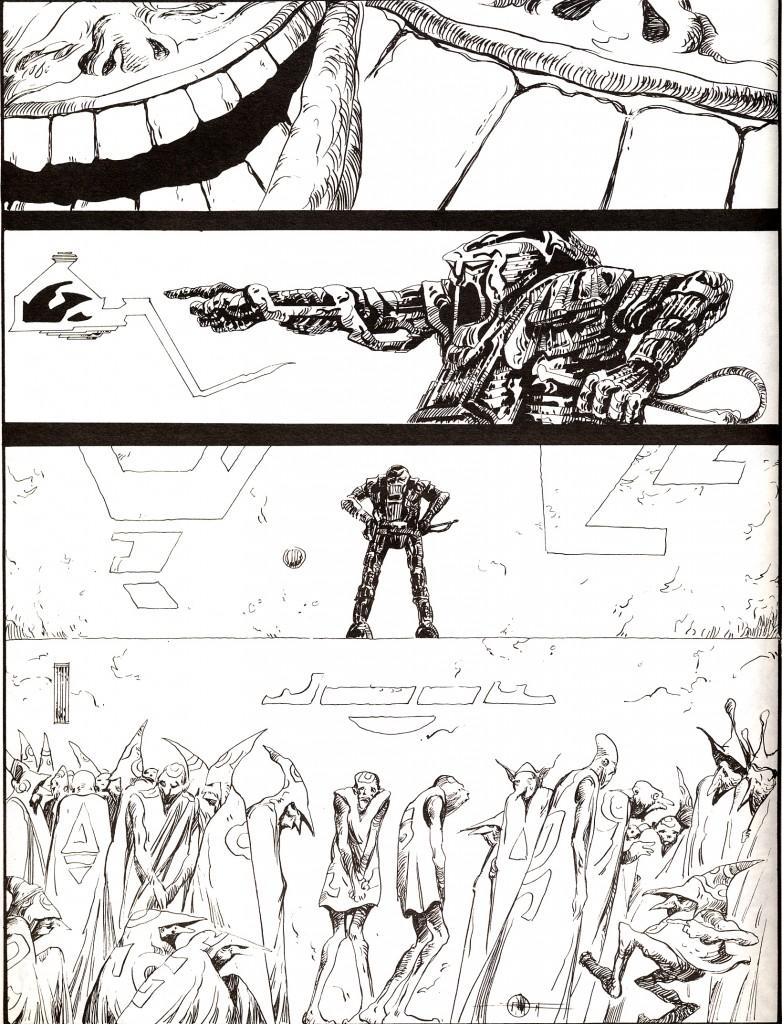 « Comédie en un acte : les fous », 4 planches publiées dans le n°3 d'(À Suivre), en 1978.