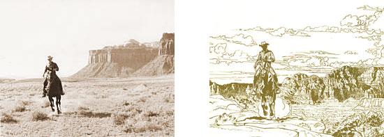 À leur retour des USA, Jean Giraud va utiliser la photo de Jean-Claude Mézières à cheval en cow-boy pour l'illustration des pages de garde de ses albums de « Blueberry ».