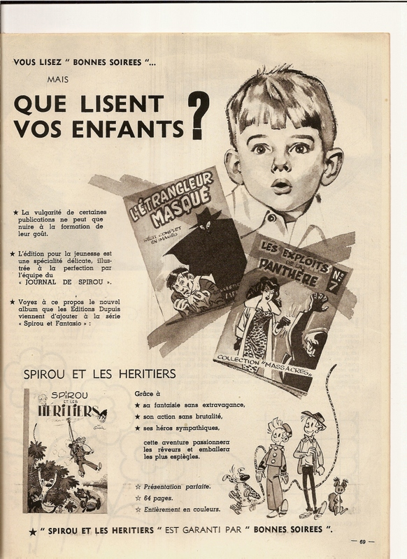 Publicité, dans Bonnes Soirées, pour le journal Spirou.