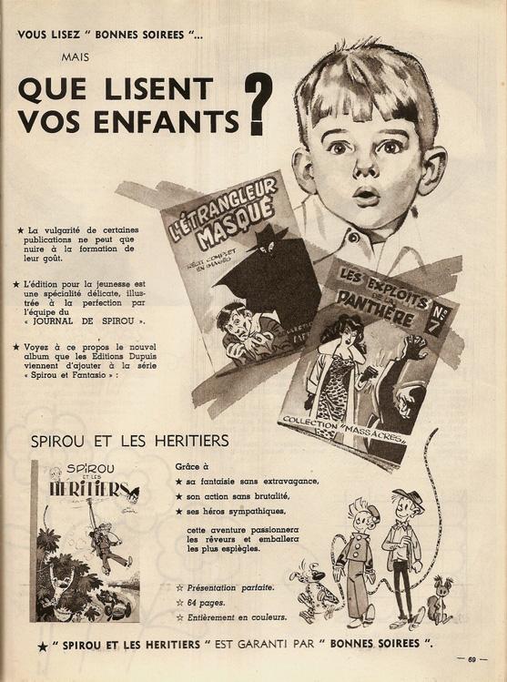 Publicité, dans Bonnes Soirées, pour les aventures de « Spirou ».