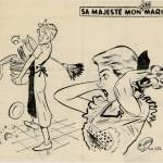 """La rubrique « Sa majesté mon mari » dont la plupart des textes étaient dus à René Goscinny, fut illustrée par Albert Uderzo, du n°1561 du 6 janvier 1952 au n°1636 du 14 juin 1953. Il fut remplacé, ensuite par Charlie Delhauteur qui signait souvent """"ch. del.""""."""