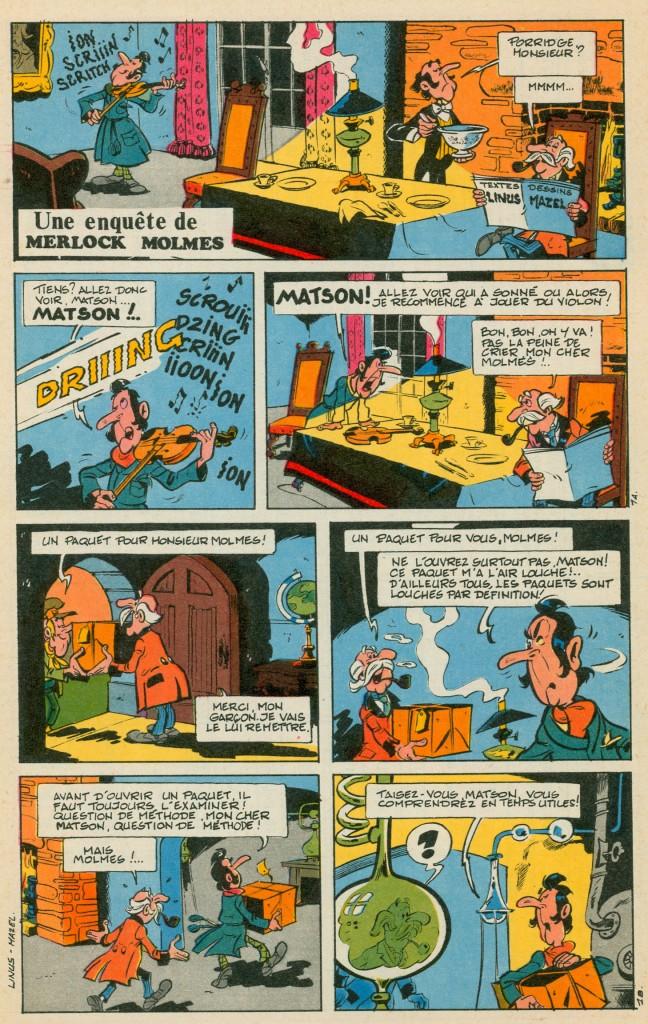 «  Une aventure de Merlock Molmes » par Luc Mazel et Linus, au n°15 de Total Journal (juillet 1968).,