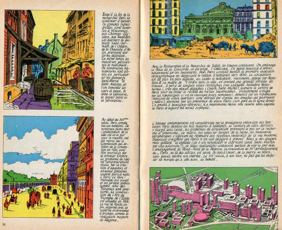 Extrait de « Paris : du bois à l'acier » (textes de Linus et dessins de Pierre Koernig), paru dans len°25 de Total Journal (du 3 avril 1970).