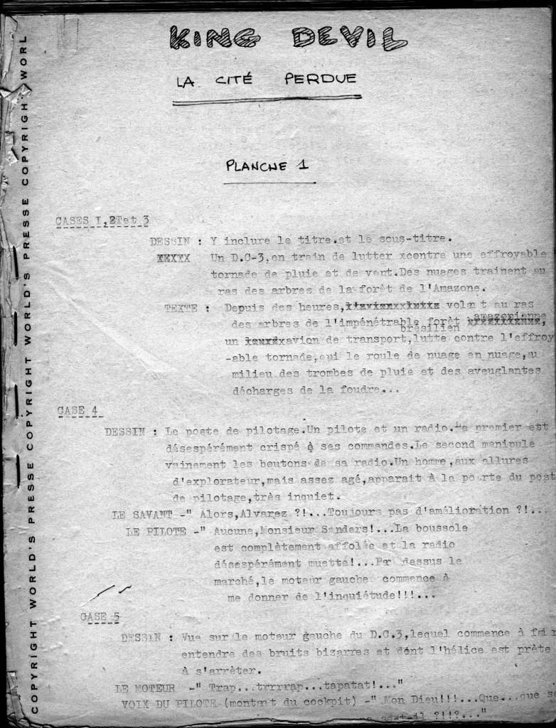 Un tapuscrit original de Jean-Michel Charlier.