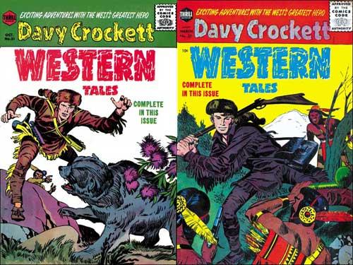 Les deux couvertures de Western Tales avec Davy Crockett. Le numéro suivant, consacré à Jim Bowie, est toujours de Kirby...