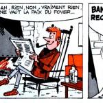 Première bande de la première planche, en bichromie, de la première histoire de « Record et Véronique » scénarisée par René Goscinny, dans le n°2 de Record, en 1962. Il n'y a pas de titre à l'histoire mais, dans le sommaire, il écrit : page 48, « Record et Véronique en famille ».