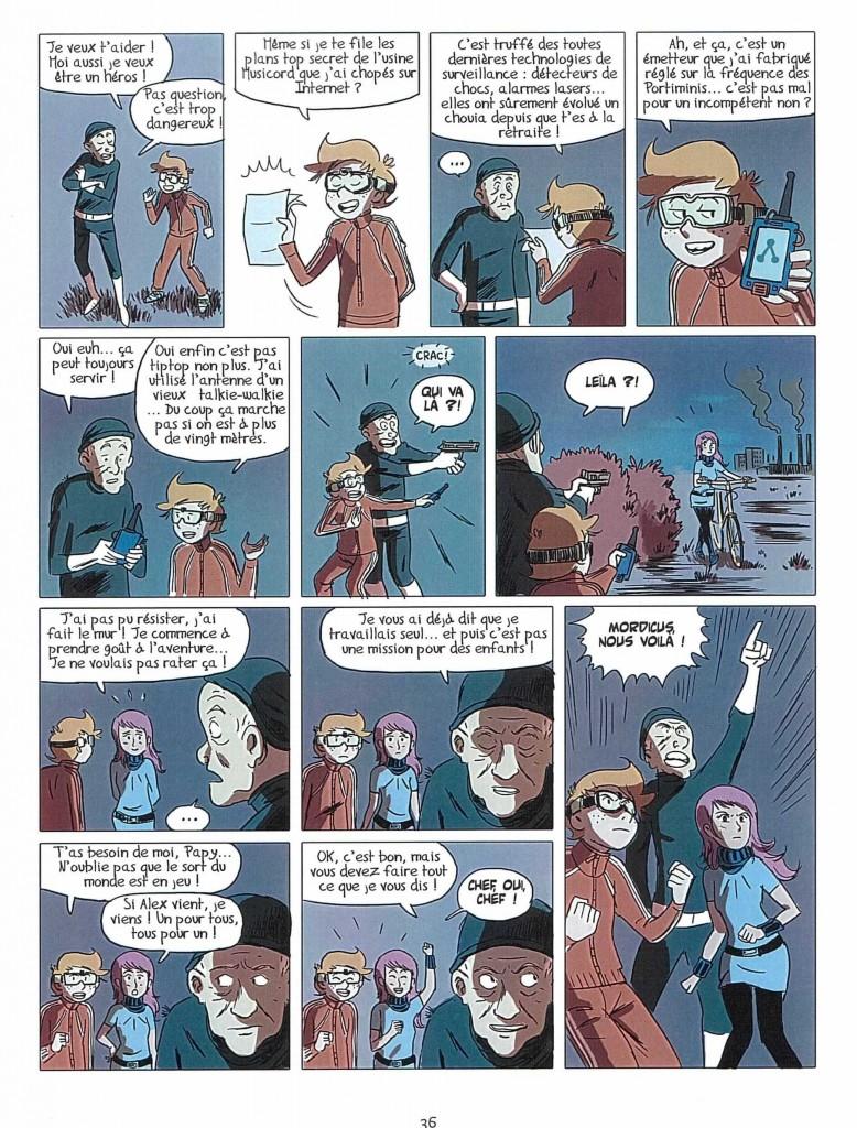 Romain Ronzeau et Thierry Gaudin - BD Kids, Espions de famille,  page 36, 2012.