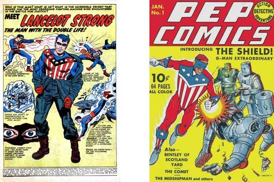 Splash de Double Life of Private Strong 1 + Pep Comics 1 (octobre 1940).
