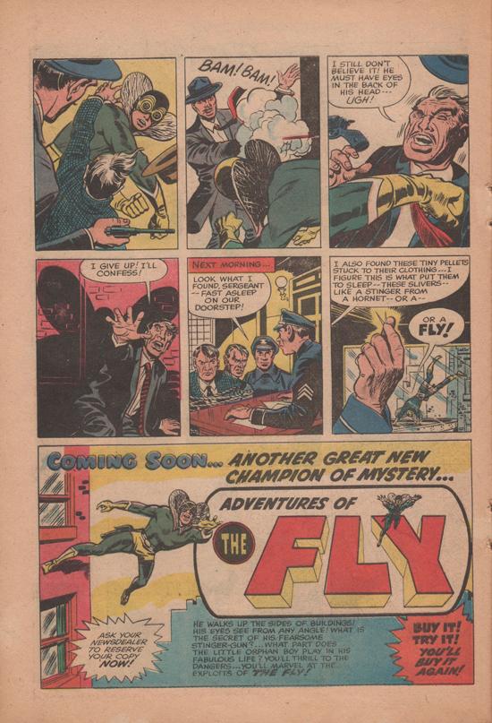 Pages de publicité pour « The Fly » dans Double Life of Private Strong n°1, antérieures à Adventures of the Fly n°1.
