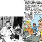 Photo de Steve Ditko et dessin de Peter Parker d'Amazing Spider-Man 4.