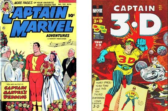Captain Marvel Adventures n°150 (le dernier numéro datant de novembre 1953) + Captain 3-D n°1 chez Harvey (décembre 1953).