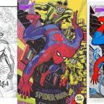 La couverture de Marvelmania n°5 (Jack a encore oublié de dessiner le sigle de Spider-Man sur sa poitrine) + Posters Marvelmania de Kirby (inédit), repris par Romita.