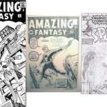Les deux recréations de la couverture d'Amazing Fantasy 15 par Kirby. Celle encrée par Martin Lasick date des années 70, tandis que celle crayonnée est de la fin des années 80 +  le layout de la couverture de Spidey Super Stories n°20, contre la Torche.