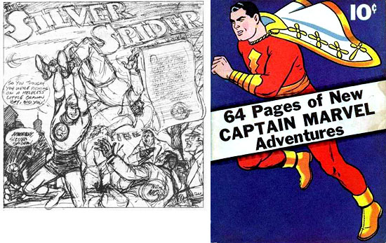 Page de « Silver Spider » +  Captain Marvel Adventures n°1 (mars 1941) par Simon & Kirby.