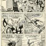Planche originale de la page 8 de Fantastic Four 73. On remarque sur la case 2 que Jack a oublié de dessiner le sigle de l'araignée sur le torse du héros...