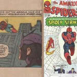 La case avec Spider-Man par Ditko du Fantastic Four Annual 3 (1965) de Lee & Kirby + La couverture d'Amazing Spider-Man n°19.
