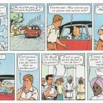 Cases finales des « 4 As et la vache sacrée » où apparaît Tintin.