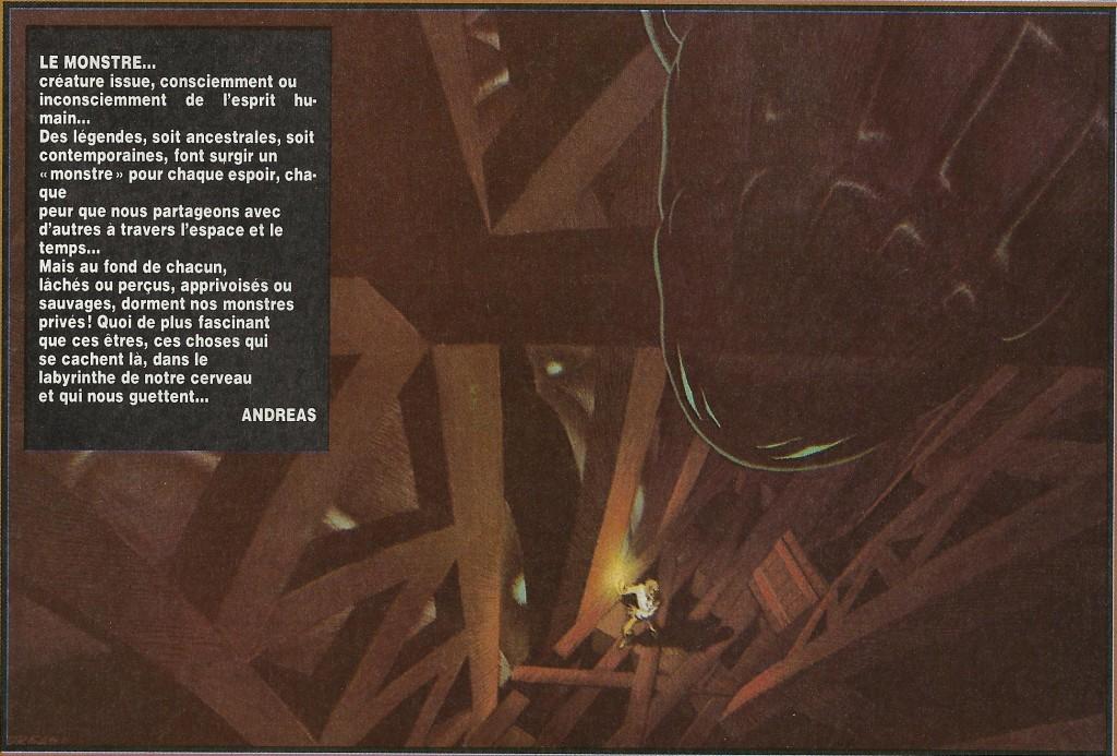 « Le monstre » : illustration parue dans le n°313 français ou 36 belge de Tintin, daté du 4 septembre 1981.