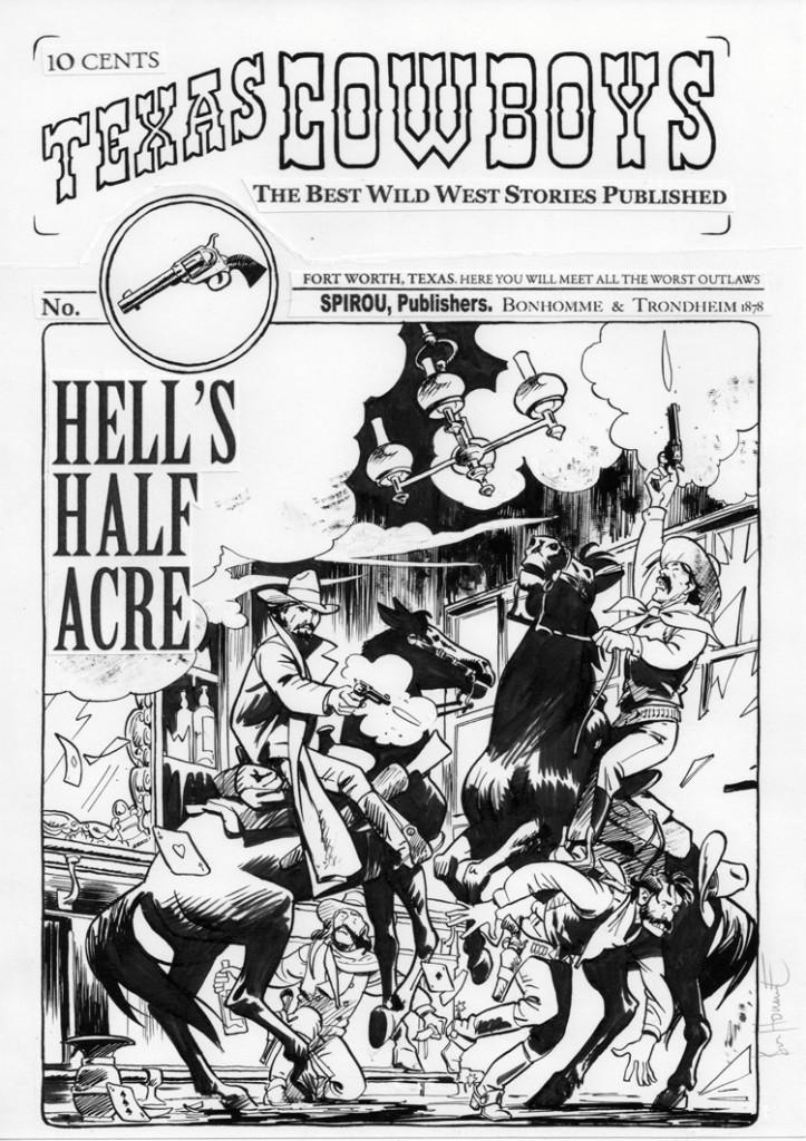 Encrages originaux pour les visuels de couvertures des fascicules n°1 et n°2 (Ed. Dupuis, septembre et octobre 2011)