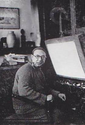 Frits van den Berghe dans son atelier Gantois, en 1928.