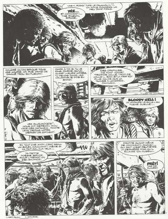 Page 7, en noir et blanc, de l'épisode « Les Entrailles du h.m.s Thunder », tel quelle avait été publiée dans le n°56 de la revue Hop ! contenant une bibliographie et une entrevue avec William Vance réalisée par Gilles Ratier et Louis Cance.