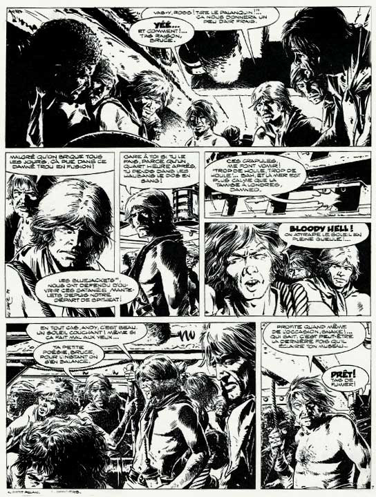Page 7, en noir et blanc, de l'épisode « Les Entrailles du h.m.s Thunder » dans le n°56 de la revue Hop ! contenant une bibliographie et une entrevue avec William Vance réalisée par Gilles Ratier et Louis Cance.