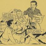 Autoportrait de Pierre Brochard, avec Zéphyr, Tony et Zamba, publié dans le n°1 de Fripounet et Marisette, le 2 janvier 1955.