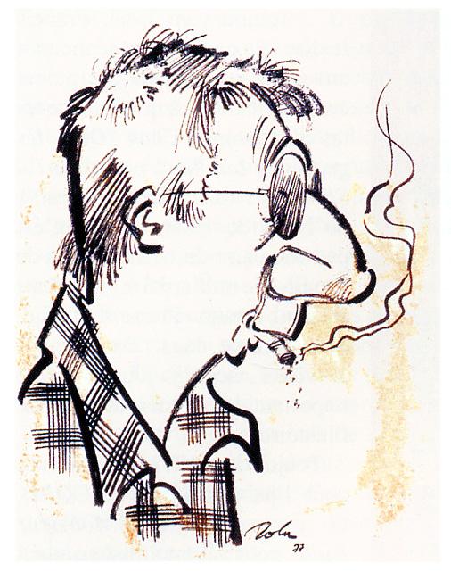 Caricature de Maurice Tillieux par Jean Roba.