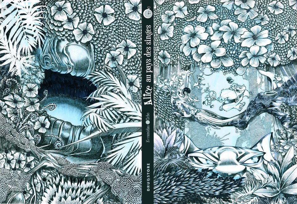1ère et 4ème de couverture pour l'édition noir et blanc (Glénat/Drugstore)