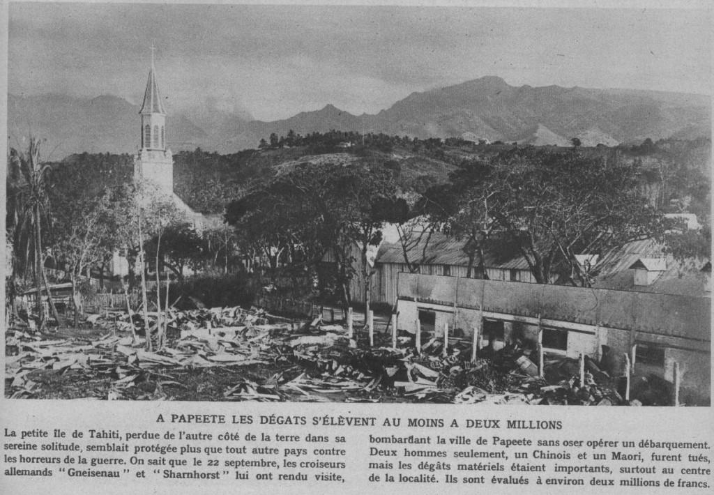 """Papeete bombardée (Photos parue en décembre 1914 dans """" Le Miroir """" n° 54, page 8)"""