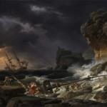 """"""" Tempête et naufrage d'un vaisseau """" , peinture sur toile de Claude Joseph Vernet (1770)"""