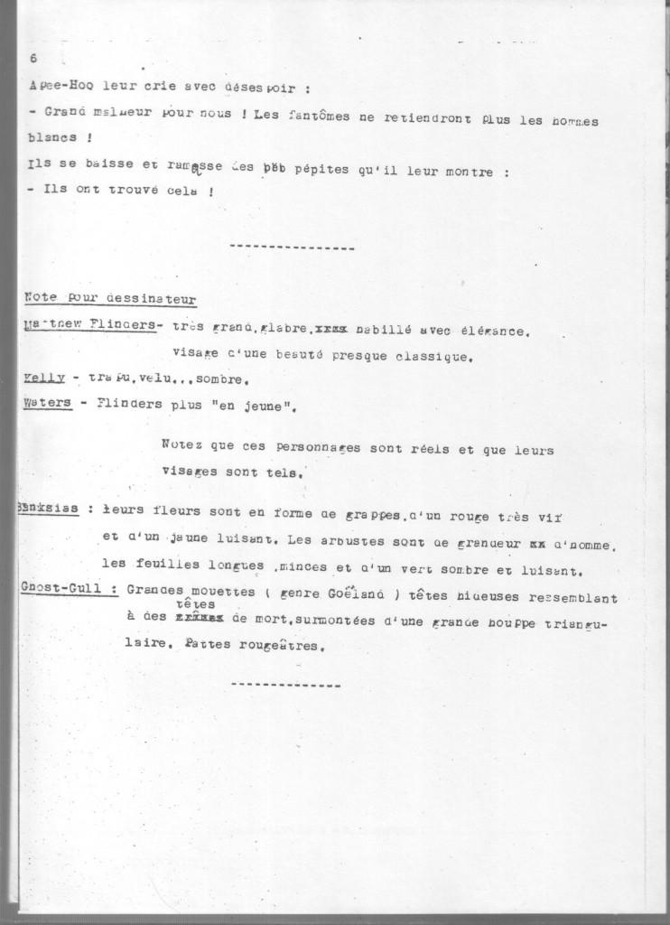 Dernière page du scénario de « Face aux Fantômes », avec indications pour le dessinateur .