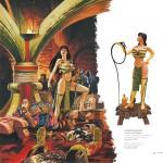 """Illustration à la gouache et statuette (Attakus) pour """" Les Feux d'Askell """""""