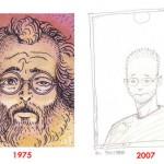 Caza auto-dessiné dans « Les Scènes de la vie de banlieue» en 1975 et autoportrait de l'artiste en 2007.