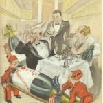 Illustration de Rob-Vel, signée de son autre pseudonyme Bozz, réalisée sur le paquebot L'Île-de-France, en 1930.