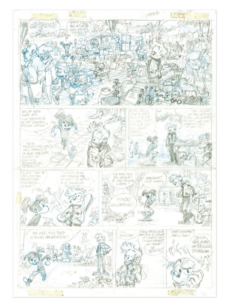 Crayonné de la première planche (Yoann et Vehlmann 2013)