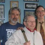 Une partie de l'équipe du Collectionneur de Bandes Dessinées : Jacques Bisceglia, Claude Guillot et Dominique Petitfaux.